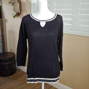 Democracy Black Perforated Sweater XL Stripe Hem
